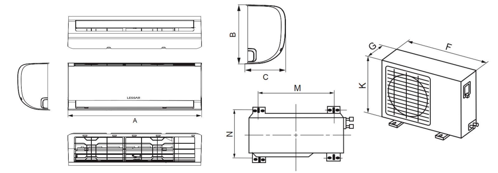 Габаритные размеры кондиционера Lessar Amigo inverter